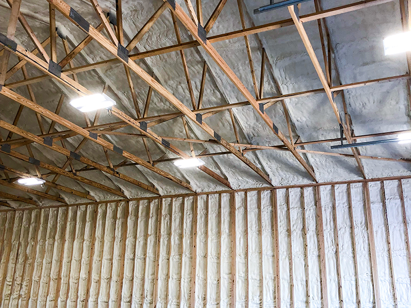 Inside of a building that have been spray foamed by energy saver insulation